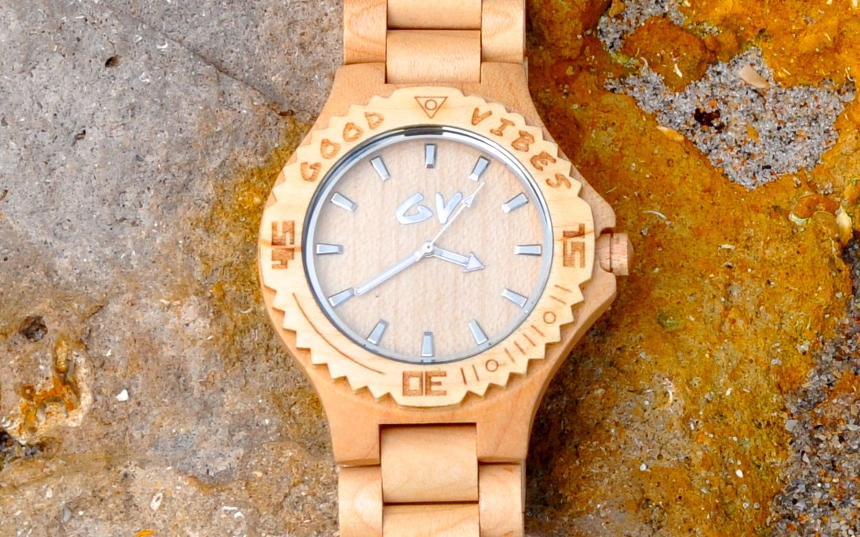 Good Vibes Watches Golden Grove Jamaican Authentic Maple Wood Watch