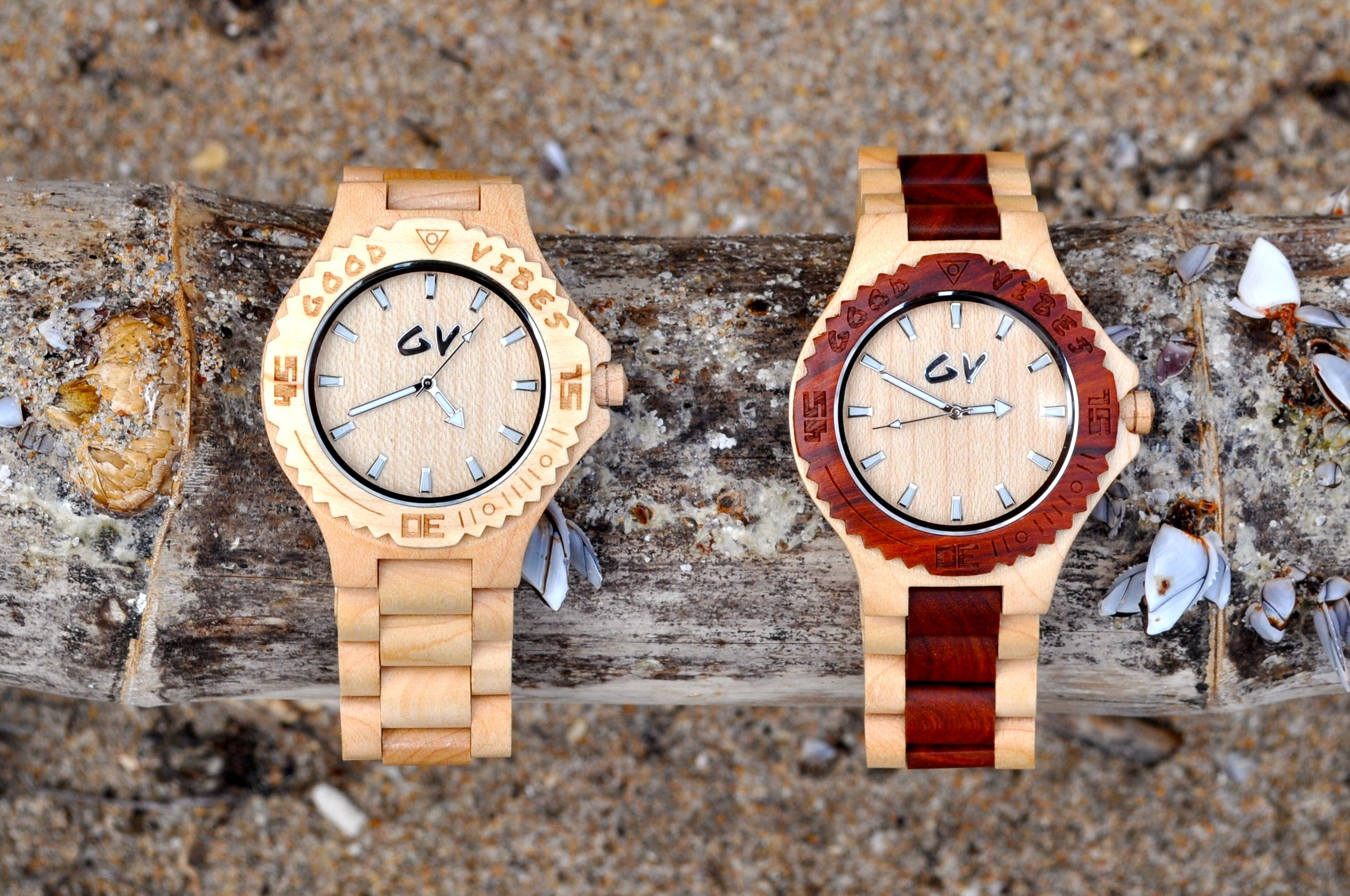 Good Vibes Wood Watches Fall 2013 collection on Bamboo Maple Wood and Red Sandalwood with Pure Maple